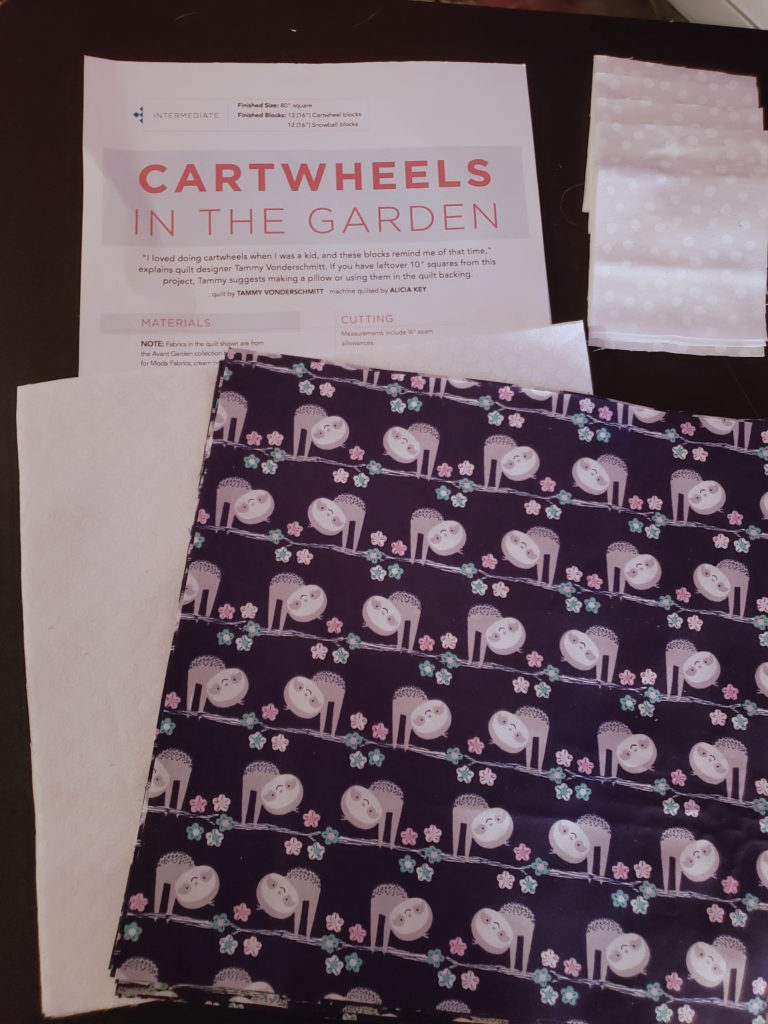 """Cartwheels in the Garden Patten cover and 10"""" Squares cut"""