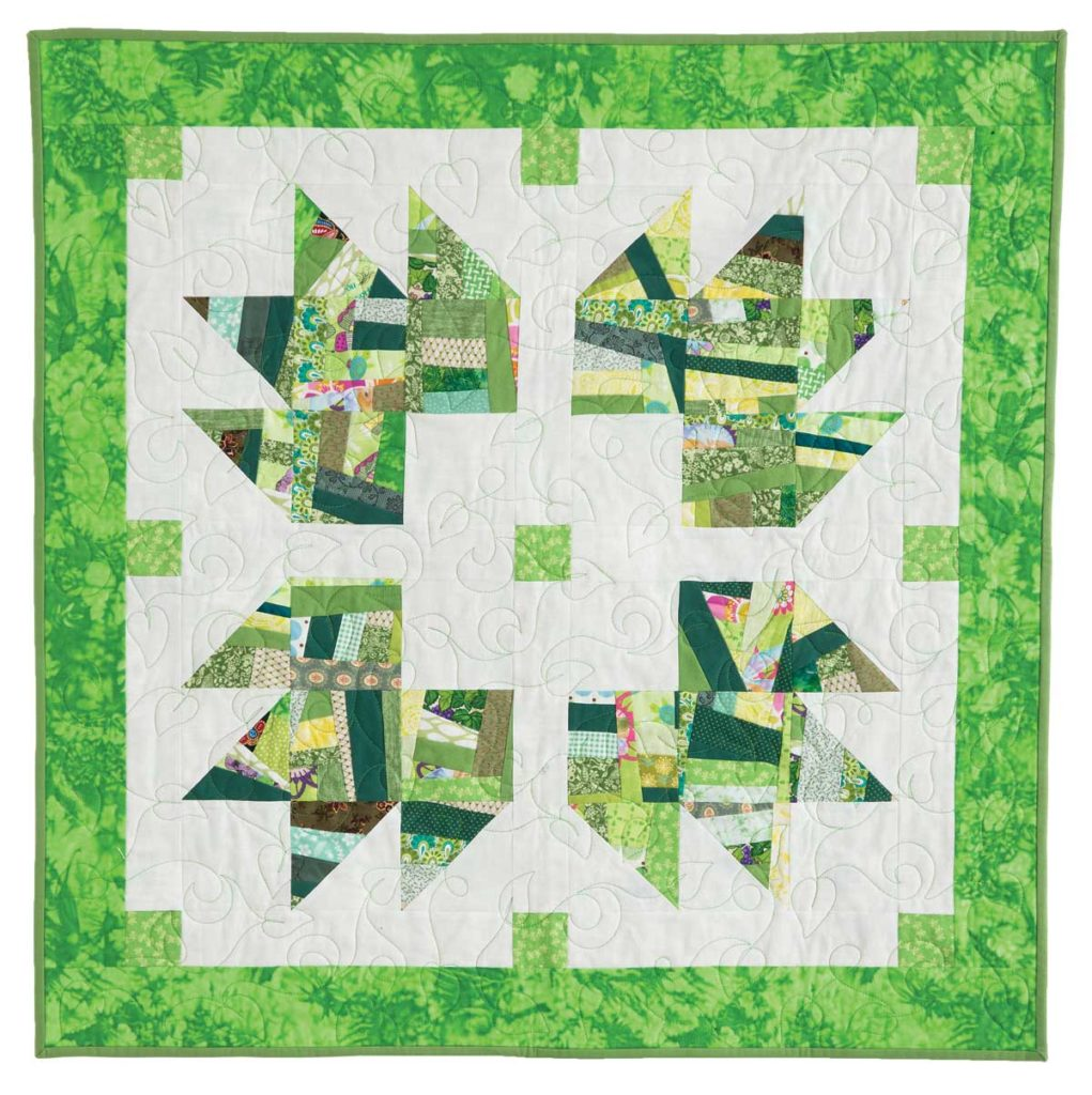 """Bea Lea's Crumbly Leaves uses a crazy piecing approach to build a scrappy """"fabric."""""""