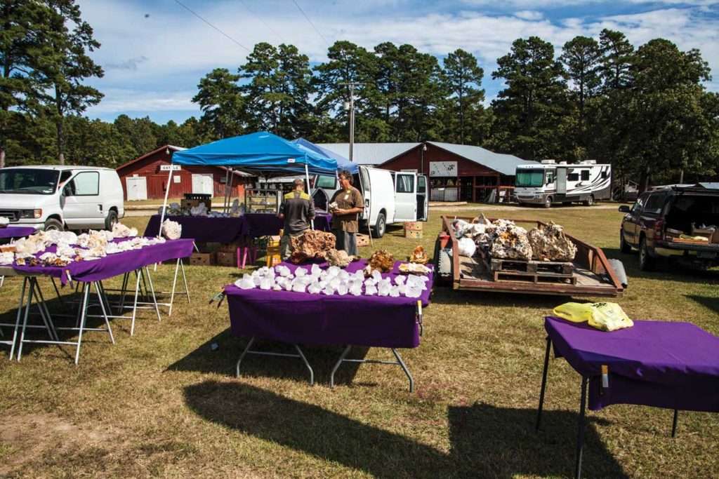 Gem and mineral dealers at the Annual Quartz, Quiltz, and Craftz Festival, Mount Ida, Arkansas. Photo courtesy Mount Ida Area Chamber of Commerce.