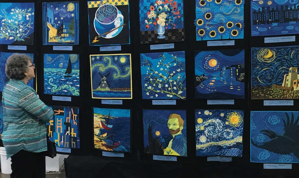 The Dutch Gallery traveling exhibit of mini quilts inspired by the work of Vincent van Gogh, sponsored by Cherrywood Fabrics, will be displayed at the 2018 Ozark Piecemakers Quilt Show. Photo courtesy Cherrywood Fabrics.