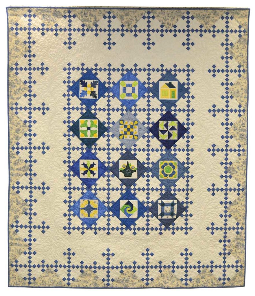 Patches of Blue is the opportunity quilt made by the Ozark Piecemakers Quilt Guild for their 2018 show in Springfield, Missouri. Photo courtesy Ozark Piecemakers Quilt Guild.