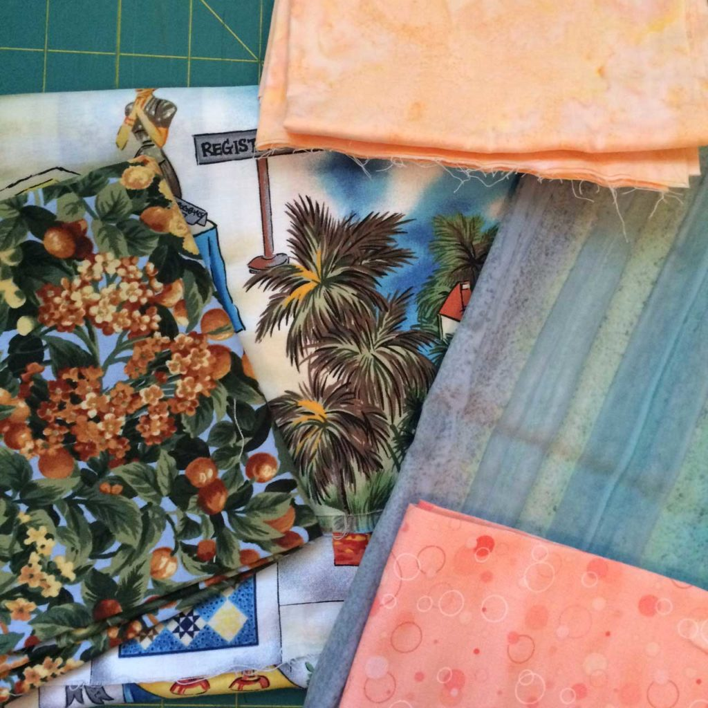 Mary Kate's initial fabric pull for her Los Angeles-inspired First Snow block