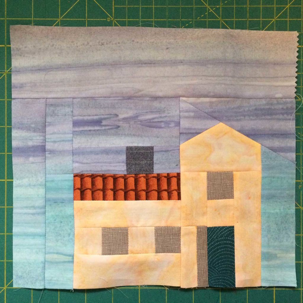 Mary Kate's pieced First Snow block, ready for embellishments!
