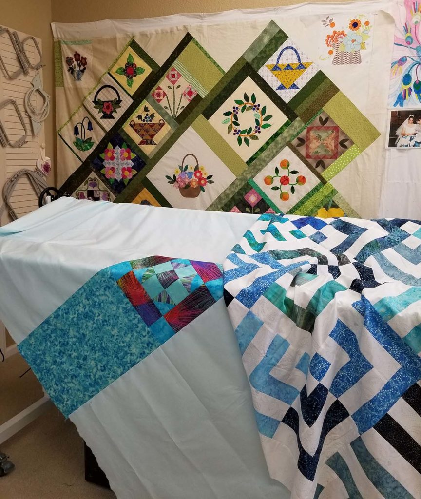 Front and back of Angie's blue-and-white quilt