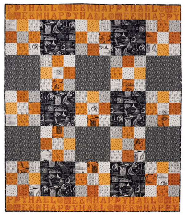 Looking for quick and easy quilted Halloween decorations? Happy Halloween is the throw quilt for you!