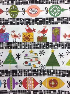 The Holiday Tweets collection from Andover features a fun multi-border stripe print.