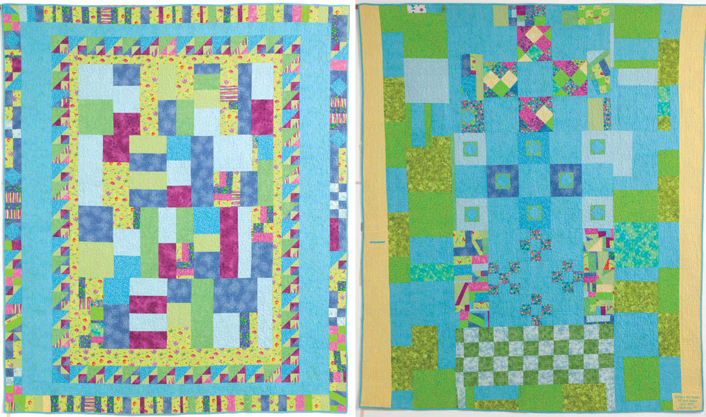 Going a Bit Buggy, 72˝ x 85˝, 2011, by Lori Baker, front (left) and back (right)