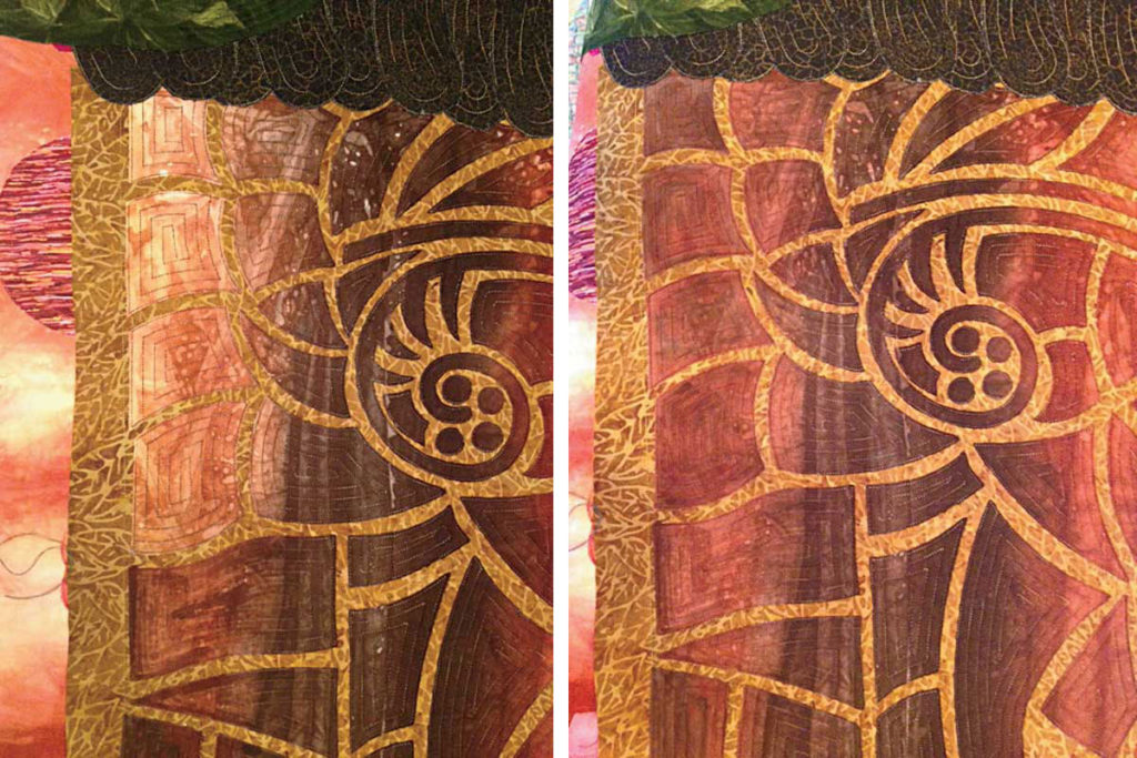 7–8. We used light fabric when we ran out of dark fabric (left), then used Tsukineko ink to darken it where needed (right)