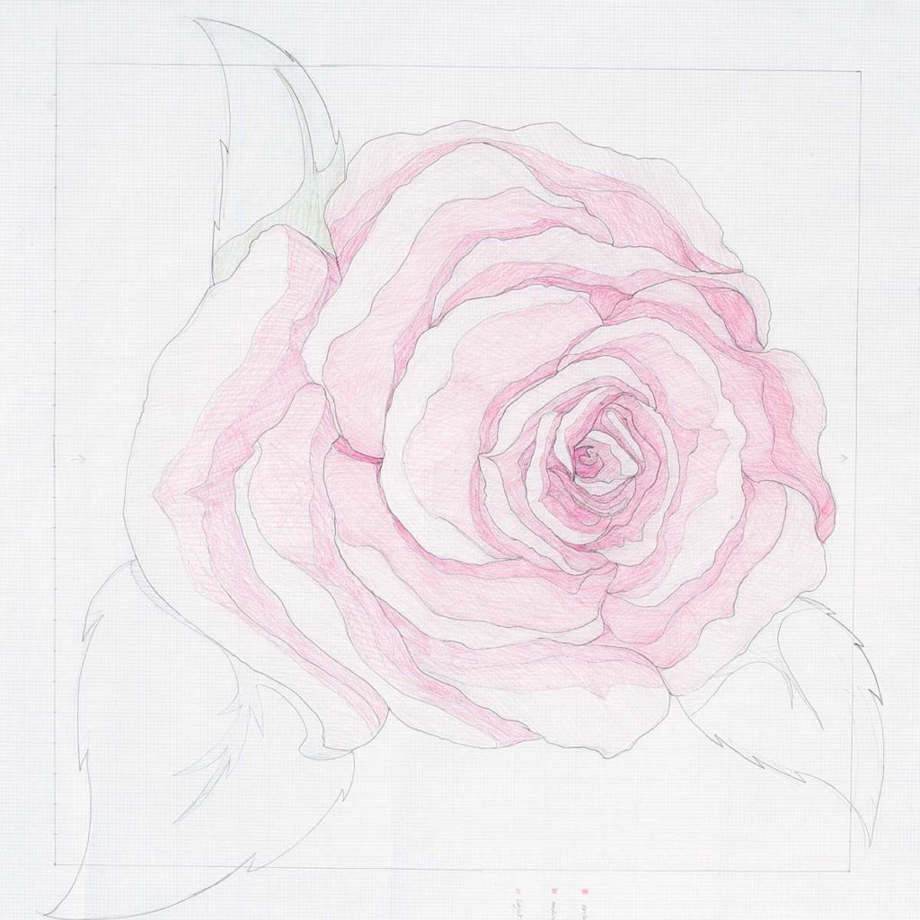 Associate editor Gigi Khalsa drew and colored an illustration of a pink rose to be used as an applique pattern.