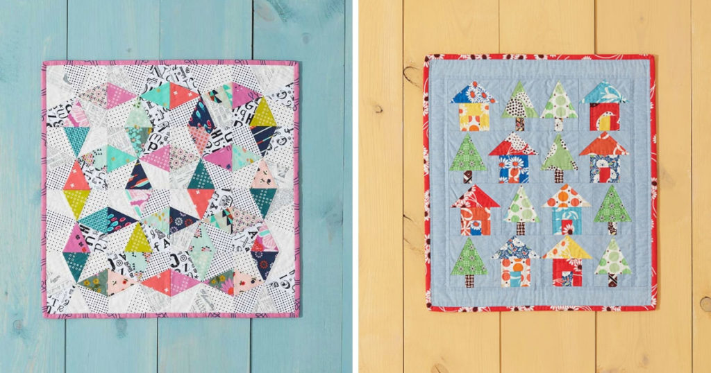 Left: The foundation paper-pieced Sparkles Mini Quilt. Right: The foundation paper-pieced Avenues Mini Quilt both from <em>Weekend Quilting</em> by Jemima Flendt