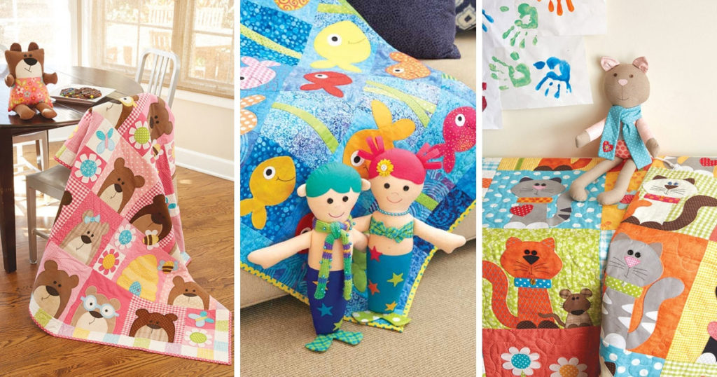 Left: Snuggle Bears Quilt and Soft Toy from <em>Happy Quilts.</em> Middle:The Deep Blue Sea Quilt and Soft Toys from <em>Happy Quilts.</em> Right:Purrrfectly Pretty Kitties Quilt and Miss Kitty Soft Toy all by Antonie Alexander
