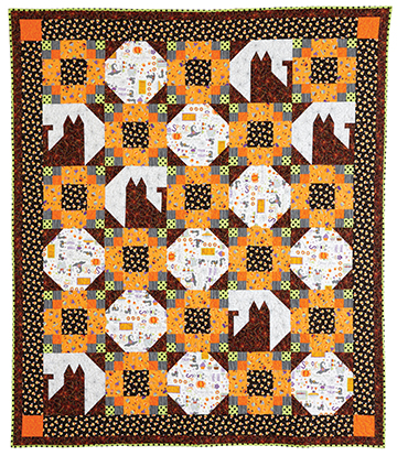 With the right Halloween fabric, Trick-or-Meow might just be the perfect Halloween quilt!