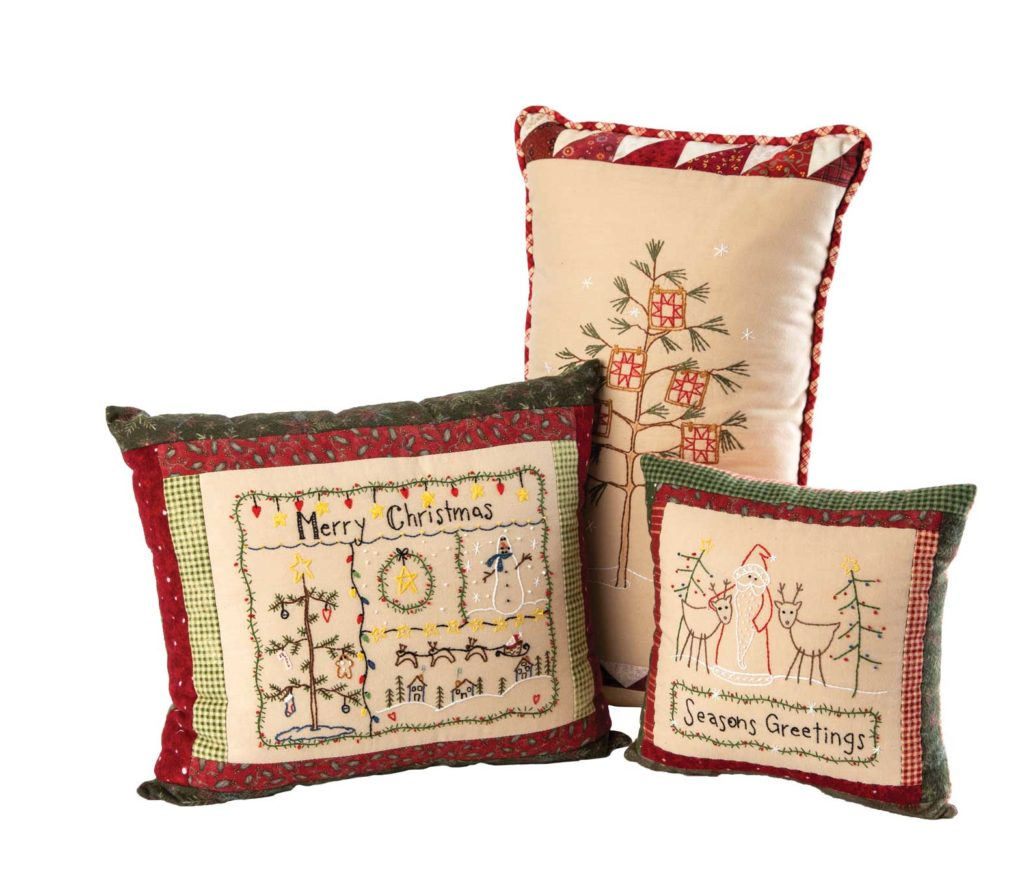 Anissa made these hand-embroidered decorative Christmas pillows designed by Bareroots and Crabapple Hill Studio.