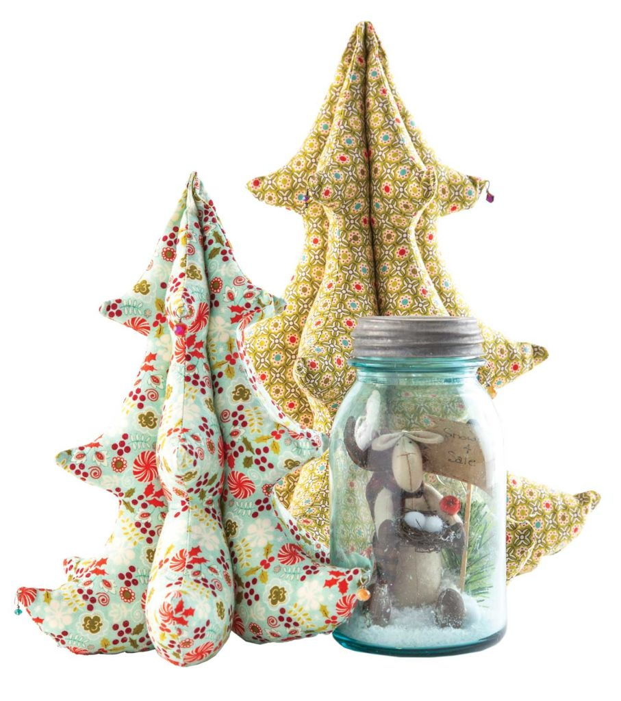 Create a festive grouping with small decor items, such as these trees designed by Amanda Murphy or the Chocolate Shake pattern by Threads That Bind, all made by Anissa Arnold.