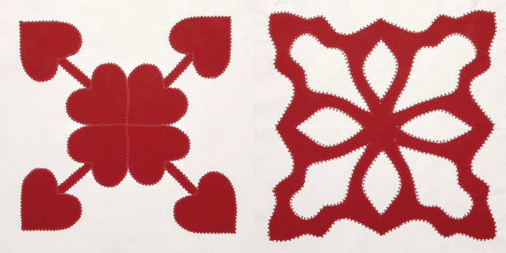 Linda used a star stitch (also known as a popcorn stitch or daisy stitch) on the Eight of Hearts and Paper Cut blocks in Red & White Quilting.