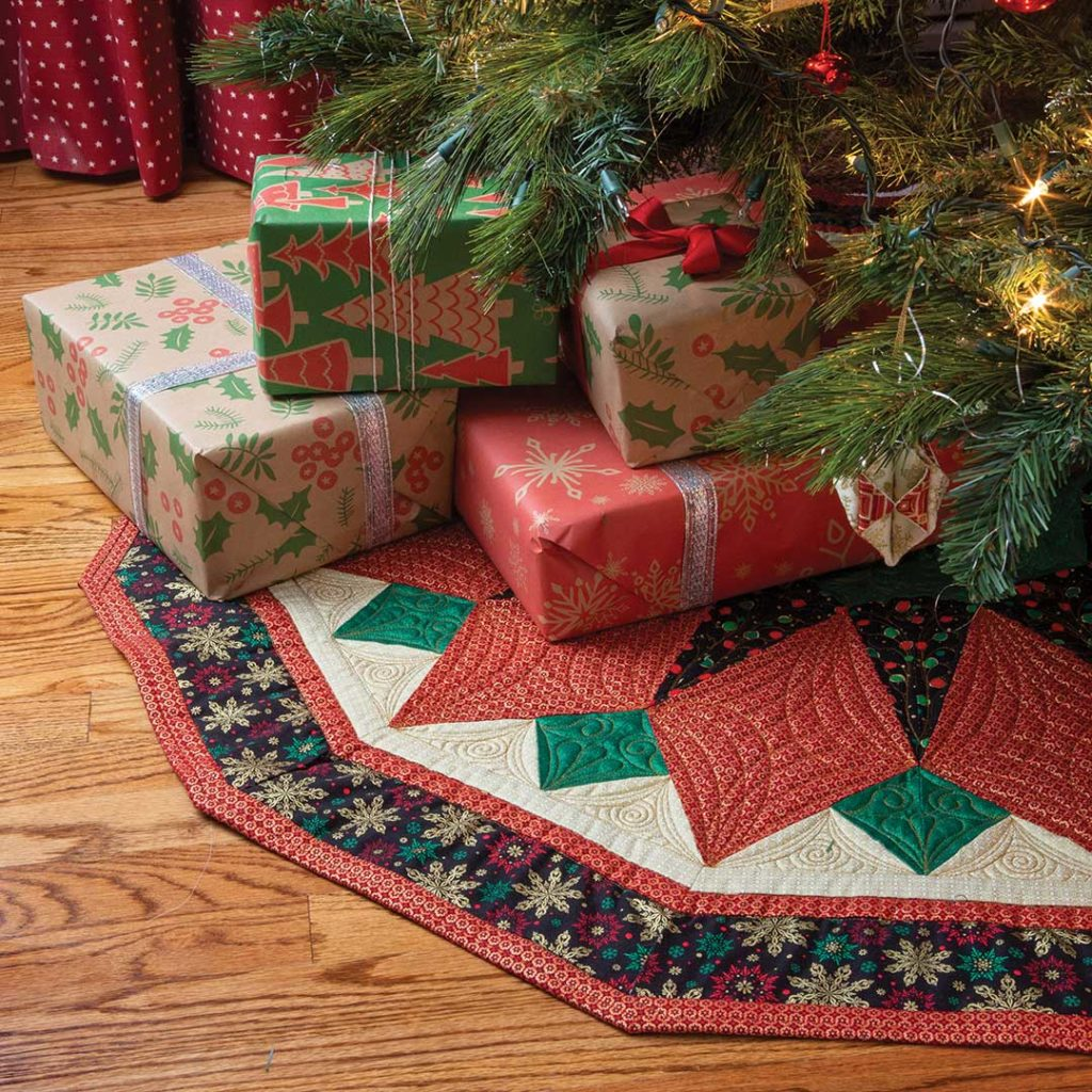 Glitter Blossom quilted tree skirt by Patty Clayton