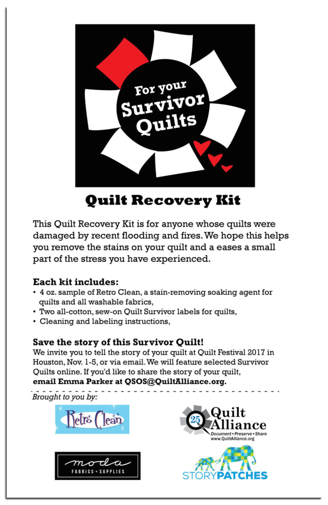The Quilt Recovery Kit cover details what each kit contains.