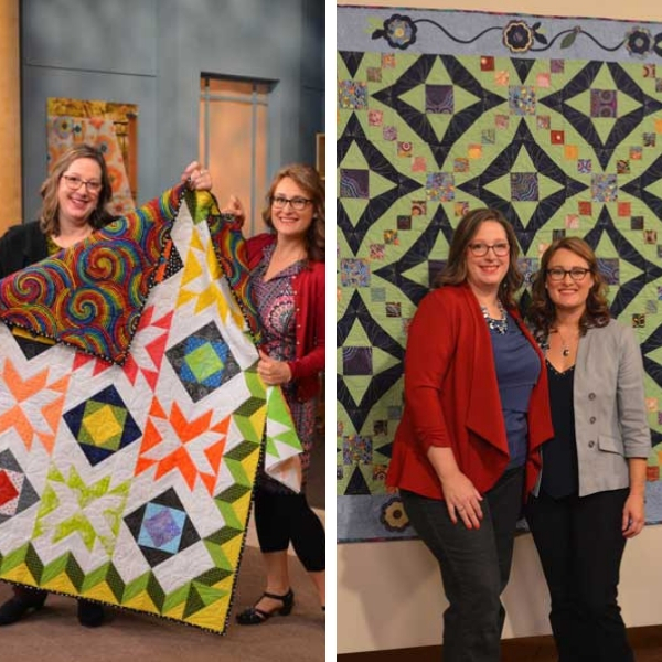 Sara and Angela get to pal around on set. Here, they show off Angela's Candy Dreams (left, from episode 3306) and Sara's Applique in Bloom (right, from episode 3312).