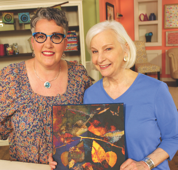 "Lesley Riley with the host of ""Quilting Arts TV"", Susan Brubaker Knapp"
