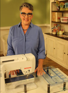 Susan Brubaker Knapp on the set of Quilting Arts TV