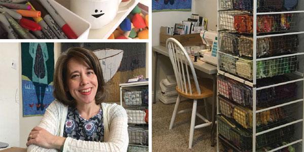 Quilting Arts shows Deborah Boschert's studio
