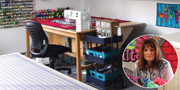Sue Bleiweiss shows her Pepperell, Massachusetts studio to Quilting Arts