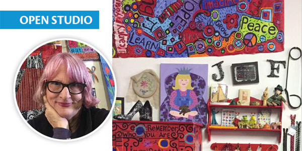 Jamie Fingal and her studio in this issue of Quilting Arts Magazine
